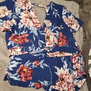 2 Piece Shorts Romper Set